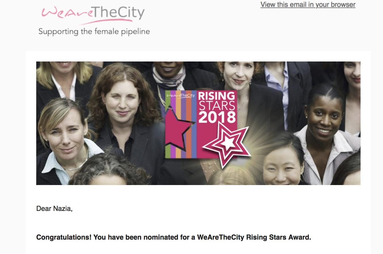 WeAreTheCity Rising Stars Awards Nomination